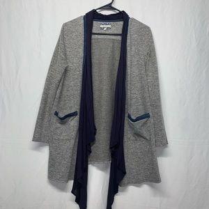 CommeToi Grey/blue longsleeve open cardigan size S